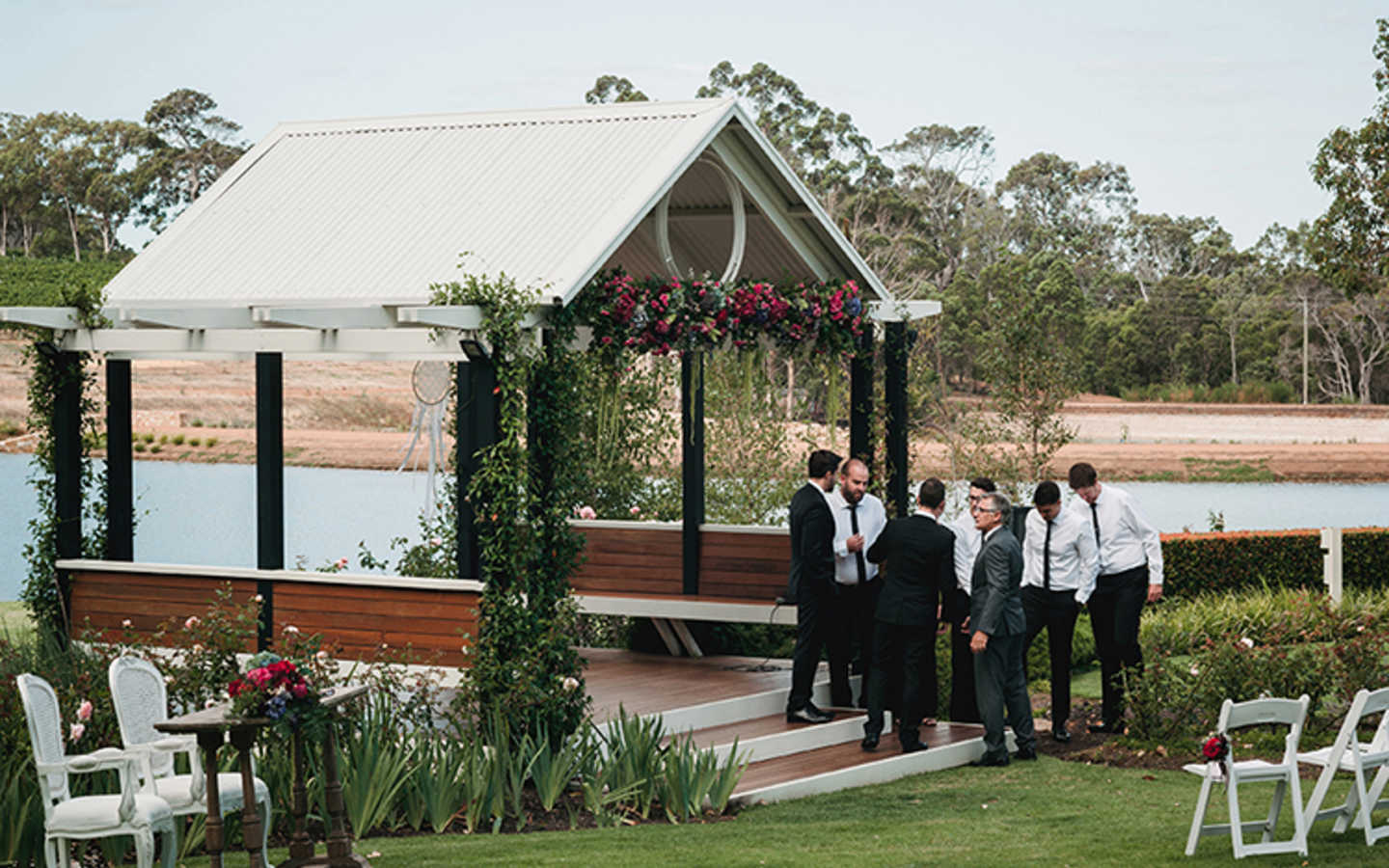 The gazebo used during a beautiful wedding ceremony.
