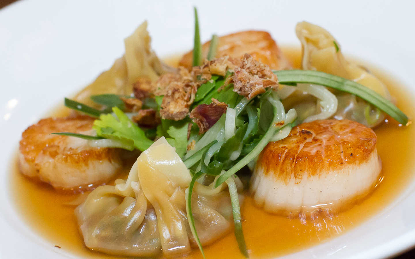 Seared Scallops & Duck Wontons