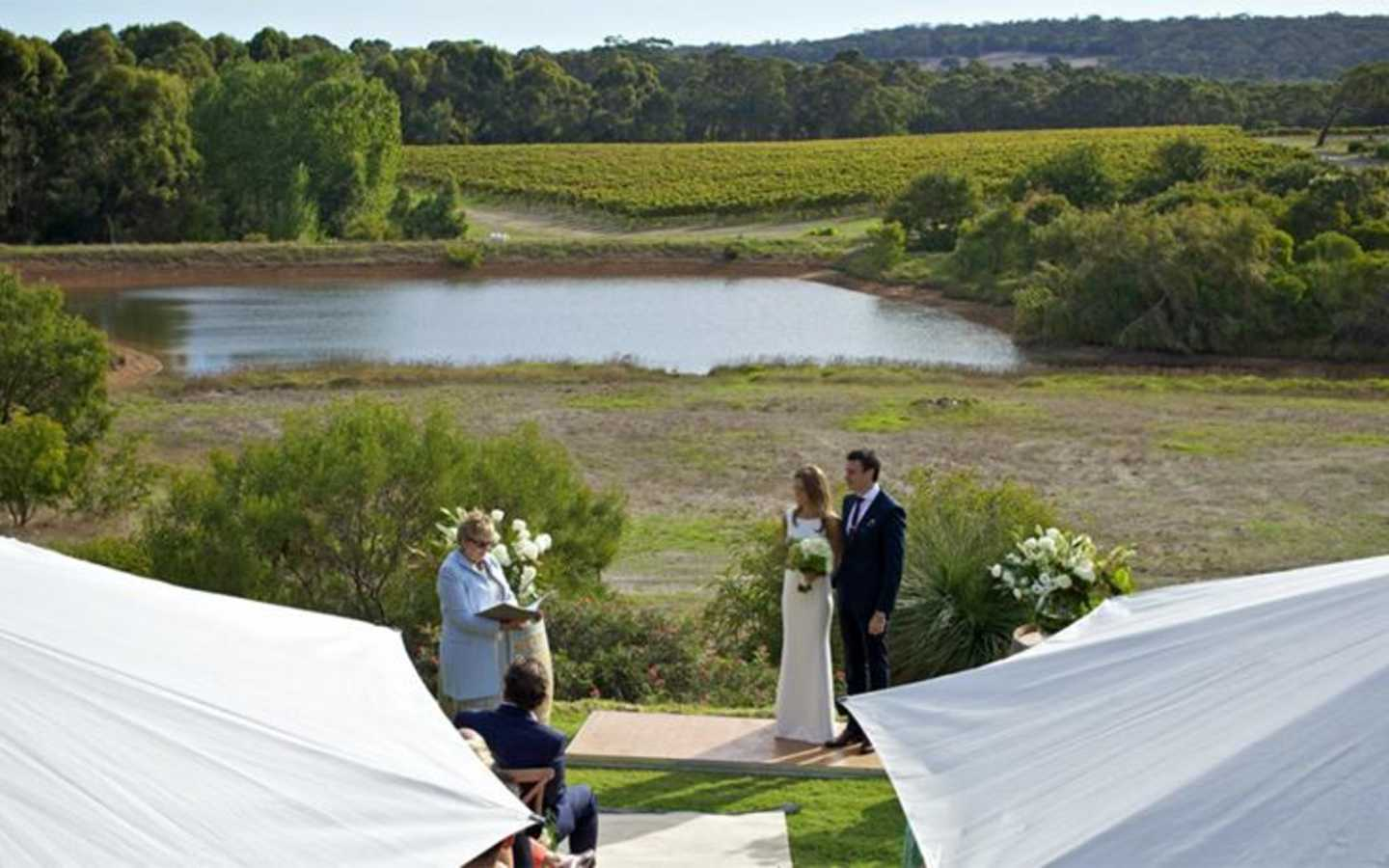 Ceremony overlooking the lake