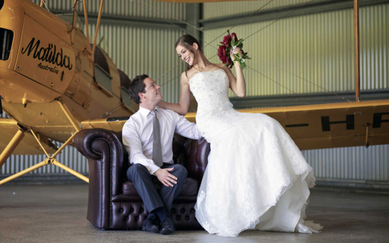 "Wedding photos in the hangar with ""Matilda"""